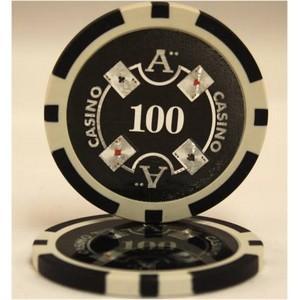 Quattro Assi(クアトロ・アッシー)ポーカーチップ(100)黒 〔25枚セット〕【商工会会...
