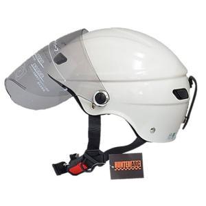 スタイリッシュな開閉式シールド付きハーフヘルメット【商工会会員です】