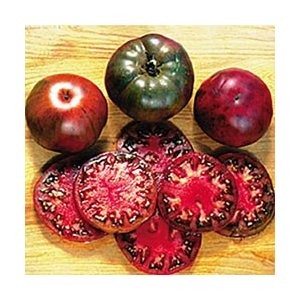 太陽に当たり完熟すると黒くなるトマトです。大さはやや平べったく直径10cm位になります。甘くておいし...