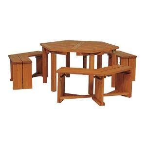 ウッディーガーデン六角テーブルセット|engei