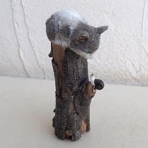 ネコのオーナメント:ねこの木(グレー)12546(高さ16.4cm) engei