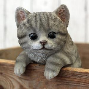 ネコのオーナメント:しまグレーねこ・ひっかけ(高さ21.5cm) engei