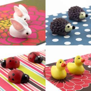 プチ プレゼントに かわいい 磁石 ネオジム アニマル マグネット ハリネズミ ウサギ テントウムシ アヒル|enitusa