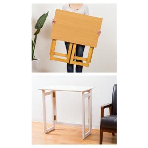 木製 フォールディングテーブル 折りたたみ コンパクト テーブル デスク 省スペース 収納 持ち運び|enjoy-home|09