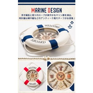 掛け時計 壁掛け時計 インテリア 幅30cm ウォールクロック マリンテイスト 浮き輪モチーフ 浮き輪型 時計 単三電池 ステップ秒針|enjoy-home|05