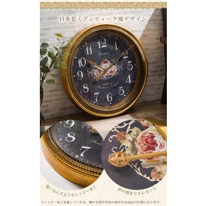 掛け時計 ウォールクロック 壁掛け時計 直径60cm 大型タイプ シャビー加工 アンティーク風 エレガントデザイン インテリア|enjoy-home|04