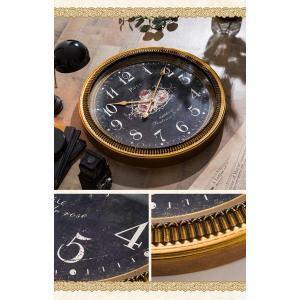 掛け時計 ウォールクロック 壁掛け時計 直径60cm 大型タイプ シャビー加工 アンティーク風 エレガントデザイン インテリア|enjoy-home|05