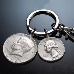 米国アンティーク銀貨キーホルダー ケネディハーフダラー銀貨 ワシントン・クォーター銀貨|enjoy-tokusenkan