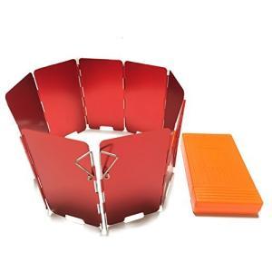 ERDEX 風防 ウインドシールド 収納ケース付 9枚プレート ウインドスクリーン コンロ用風除板 ウインドスクリー?|enjoylife2430