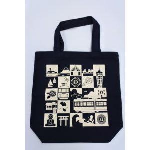 江ノ電トートバッグ紺(江ノ電と湘南)|enoden-goods