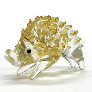 金箔十二支イノシシ(亥) L ガラス細工 雑貨 置物|enoshimahook