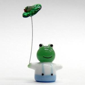 雨やどりカエル ガラス細工 雑貨 置物|enoshimahook