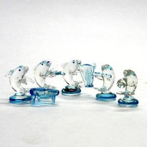 クリアイルカ楽団 5P ガラス細工 雑貨 置物|enoshimahook