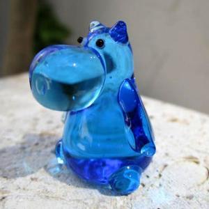 ブルーのカバさん ガラス細工 雑貨 置物 enoshimahook