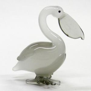 ペリカン スモーク 鳥 ガラス細工 雑貨 置物|enoshimahook