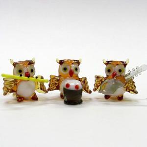 ミミズク楽団 ガラス細工 雑貨 置物|enoshimahook