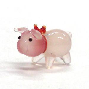 ぶた(豚) HAPPYブーmini ピンクリボン ガラス細工 雑貨 置物|enoshimahook