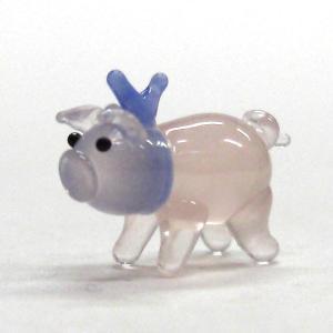 ぶた(豚) HAPPYブーmini ブルーリボン ガラス細工 雑貨 置物|enoshimahook