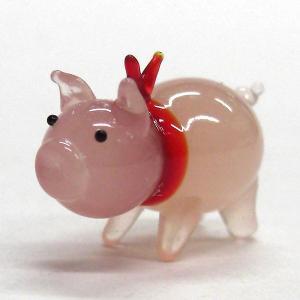 ぶた(豚) HAPPYブー ピンクリボン ガラス細工 雑貨 置物|enoshimahook