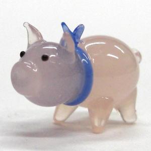 ぶた(豚) HAPPYブー ブルーリボン ガラス細工 雑貨 置物|enoshimahook