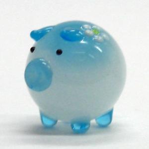 花ぶた ブルー L ガラス細工 雑貨 置物|enoshimahook