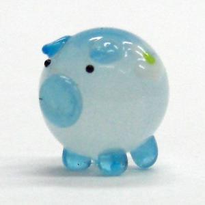 花ぶた ブルー S ガラス細工 雑貨 置物|enoshimahook