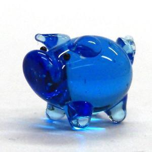 ぶた(豚) ブタ S ブルー ガラス細工 雑貨 置物|enoshimahook