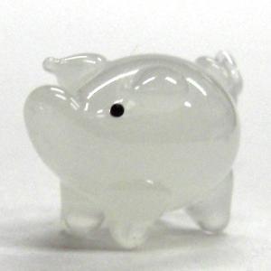 ぶた(豚) ブタ S ホワイト ガラス細工 雑貨 置物|enoshimahook