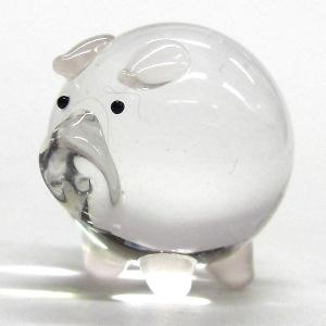 ガラス細工の動物ぶた(ブタ) クリアぶた ガラス細工 雑貨 置物|enoshimahook