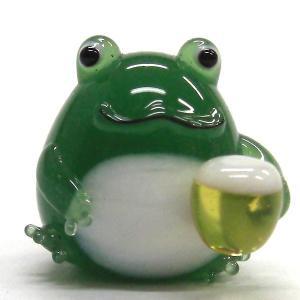 乾杯カエルビール グリーン ガラス細工 雑貨 置物|enoshimahook