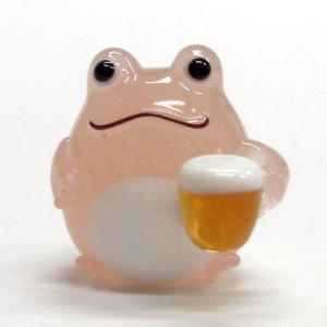 乾杯カエルビール ピンク ガラス細工 雑貨 置物|enoshimahook