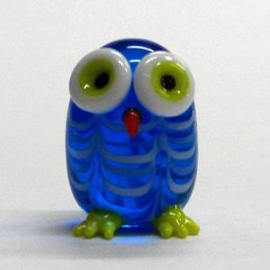 マーブル丸ふくろう ブルー ガラス細工 雑貨 置物|enoshimahook