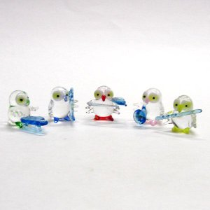 五ふくろう楽団(五福朗・五不苦労) ガラス細工 雑貨 置物|enoshimahook