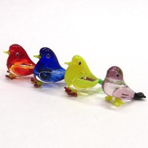 春に人気のガラス細工 鳥 クリアバード 4色セット ガラス細工 雑貨 置物|enoshimahook