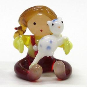 ネコを抱く少女 世界の子どもたち ガラス細工 雑貨 置物|enoshimahook