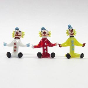 座ピエロ 仲良し三人セット ガラス細工 雑貨 置物|enoshimahook