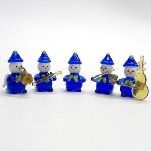 天使小人の楽団5P ブルー ガラス細工 雑貨 置物|enoshimahook