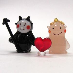 天使ちゃんと悪魔くんのカップル 結婚祝い ガラス細工 雑貨 置物|enoshimahook