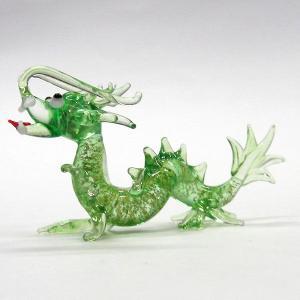 金箔龍神様 M グリーン ガラス細工 雑貨 置物|enoshimahook