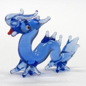 龍神様 SS ブルー ガラス細工 雑貨 置物|enoshimahook