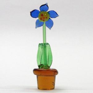 鉢花 ブルー 花 ガラス細工 雑貨 置物|enoshimahook