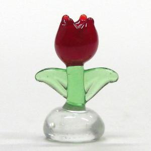チューリップ S 濃い赤 花 ガラス細工 雑貨 置物|enoshimahook