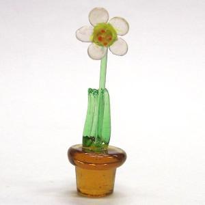 鉢花 ピンク 花 ガラス細工 雑貨 置物|enoshimahook