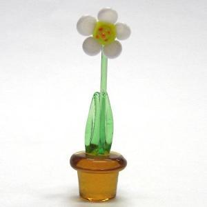 鉢花 ホワイト 花 ガラス細工 雑貨 置物|enoshimahook