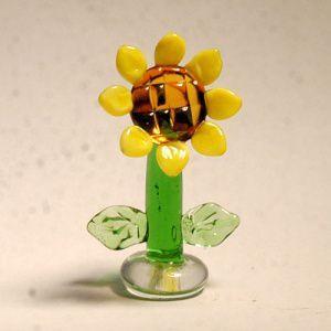 ひまわり S 花 ガラス細工 雑貨 置物|enoshimahook