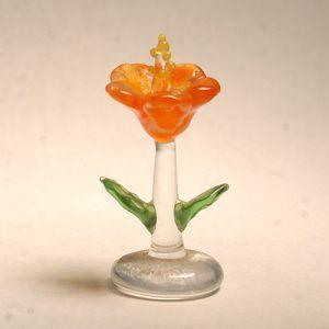 ハイビスカス オレンジ 花 ガラス細工 雑貨 置物|enoshimahook