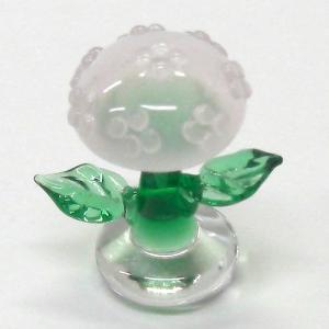 あじさい ピンク 花 ガラス細工 雑貨 置物|enoshimahook