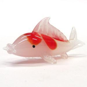 こい 錦鯉 紅色 端午の節句 子どもの日 ガラス細工 雑貨 置物|enoshimahook