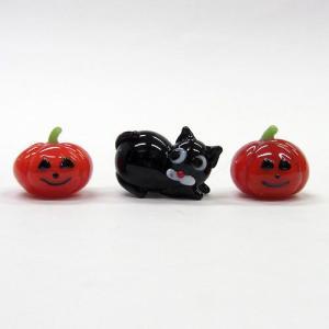 いたずら黒猫 ハロウィンセット ガラス細工 雑貨 置物|enoshimahook