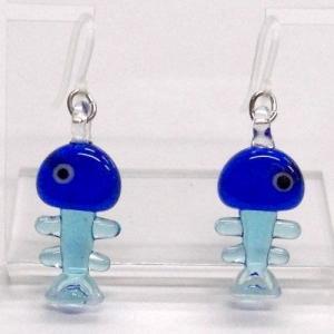 魚の骨 ブルー ガラス細工 雑貨 ピアス|enoshimahook